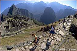 Runners on the final stretch to Machu Picchu.