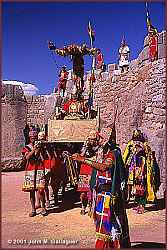 The Inca is carried from Cusco to Saccsayhuaman for the